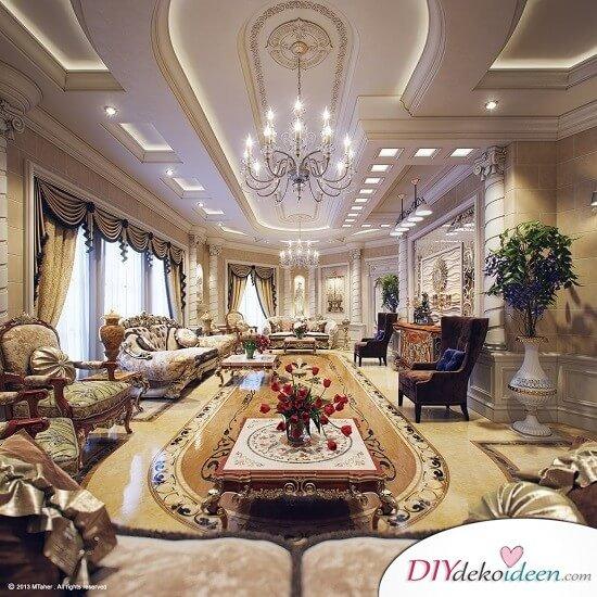 Extravagante Wohnzimmer Interieur-Ideen - Romantischer Saal