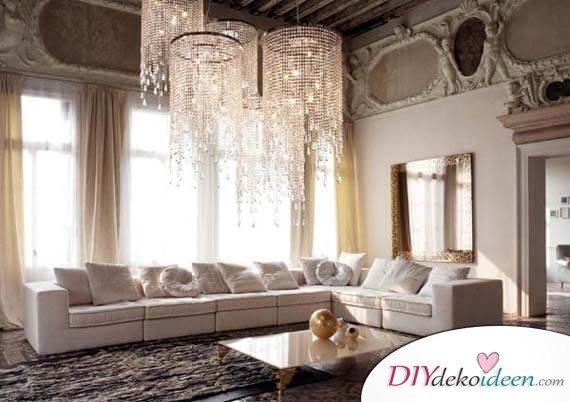 Extravagante Wohnzimmer Interieur-Ideen - Traumhafte Kristallleuchter