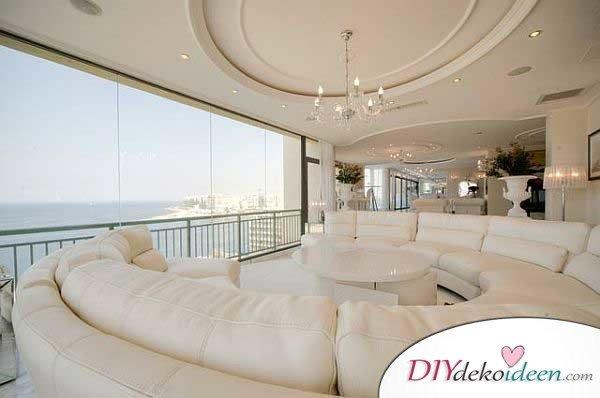 Extravagante Wohnzimmer Interieur-Ideen - Weiße Wohlfühloase