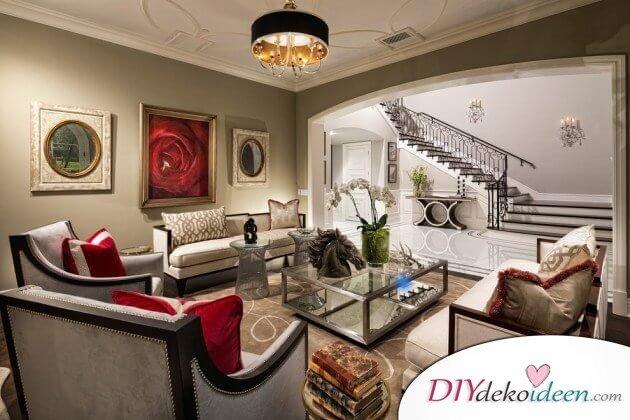 Extravagante Wohnzimmer Interieur-Ideen - Rote Farbakzente