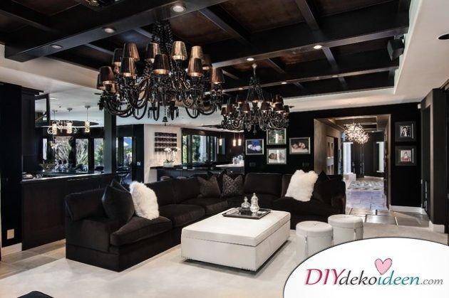 Extravagante Wohnzimmer Interieur-Ideen - Stylisches Schwarz