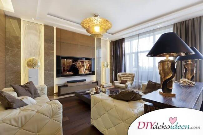Extravagante Wohnzimmer Interieur-Ideen - Goldene Dekoelemente
