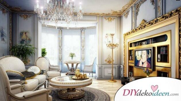 Extravagante Wohnzimmer Interieur-Ideen - Romantisches Mobiliar mit Fernsehwanda