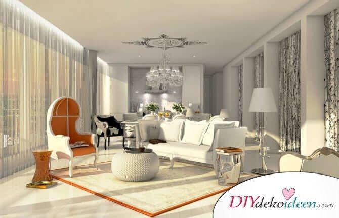 Extravagante Wohnzimmer Interieur-Ideen - Elegantes Mobiliar mit Pepp