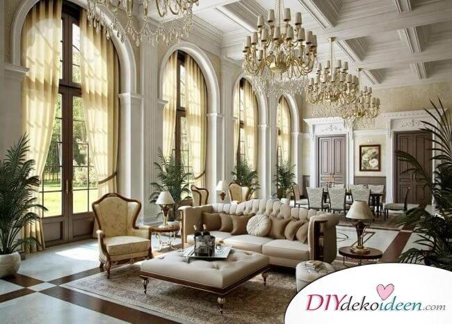 Extravagante Wohnzimmer Interieur-Ideen - Edle Kristallleuchter