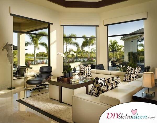 Extravagante Wohnzimmer Interieur-Ideen - Schick in Schwarz-Weiß