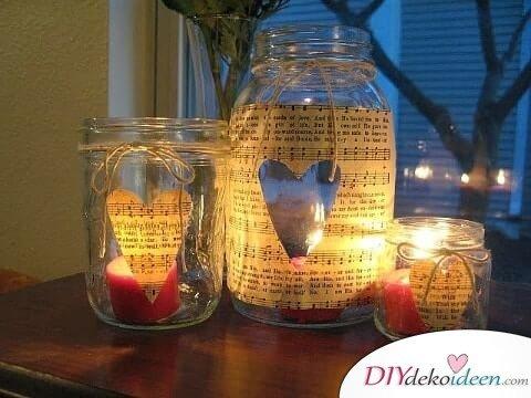 Einmachgläser-Kerzenlichter - DIY Geschenk selbermachen zum Valentinstag