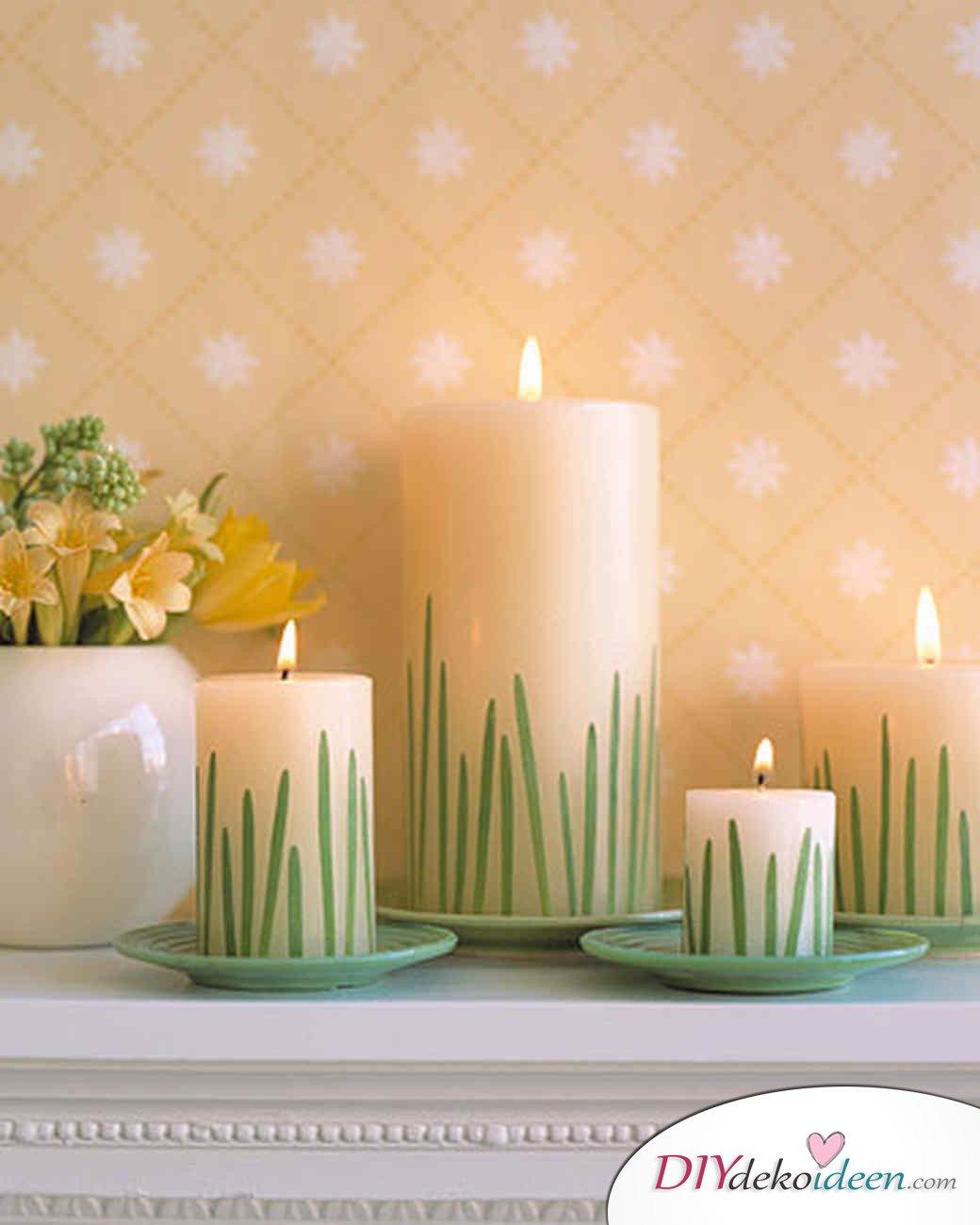 DIY Ideen - Frühlingsdeko selbst gestalten -Grashalm-Kerzen