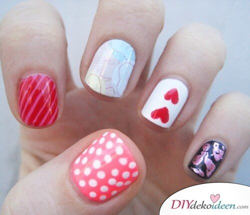 Eine Tüte Süßes - DIY Ideen für schöne Nägel zum Valentinstag