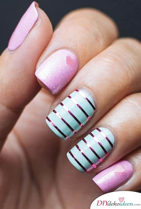 Einfach nur Streifen - DIY Ideen für schöne Nägel zum Valentinstag