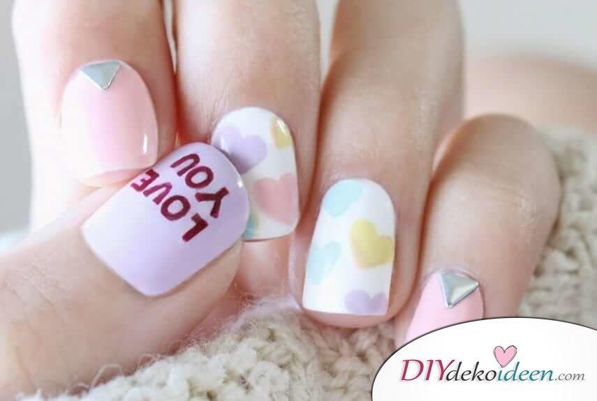 Zuckerherzen - DIY Ideen für schöne Nägel zum Valentinstag