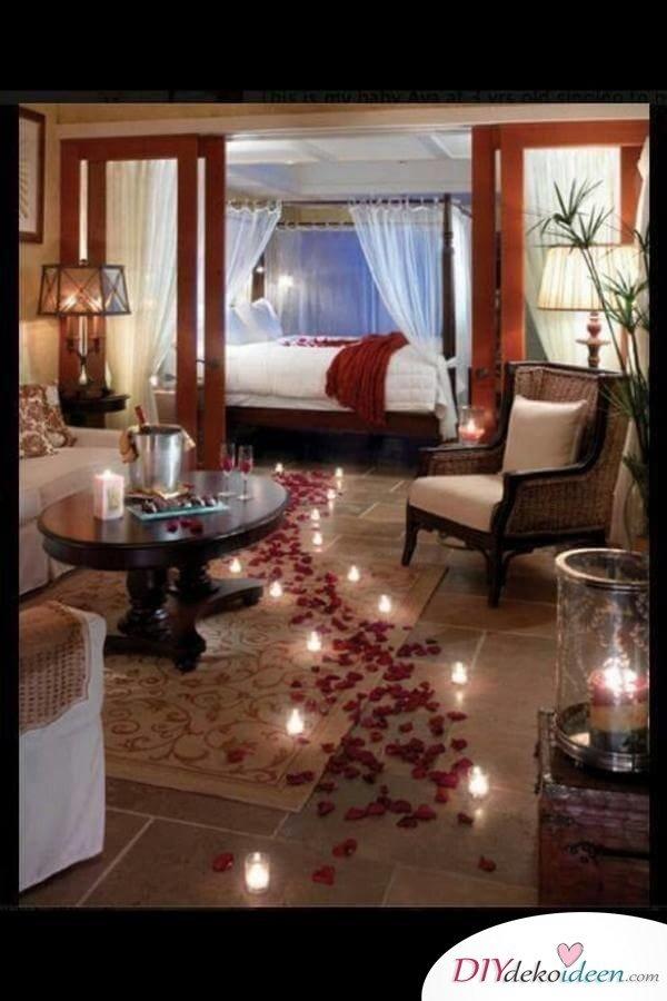 DIY Schlafzimmer Deko-Ideen zum Valentinstag: romantische Dekoration mit Kerzen