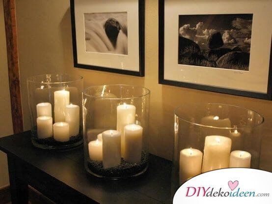 DIY Schlafzimmer Deko Ideen Zum Valentinstag: Kerzen In Großen Kerzengläsern