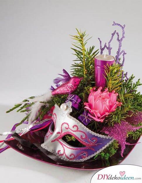 Deko Ideen mit venezianischen Masken - DIY Tischdeko für Fasching