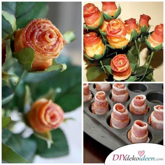 Rosen aus Bacon selber machen - witzige Geschenke zum Valentinstag