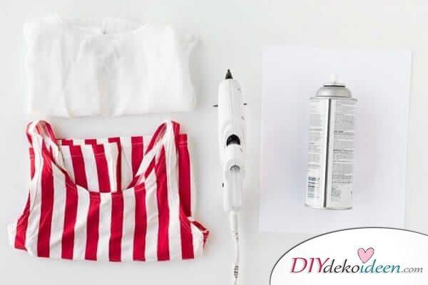 Materialien für das Popcorn-Kostüm zum Selbermachen