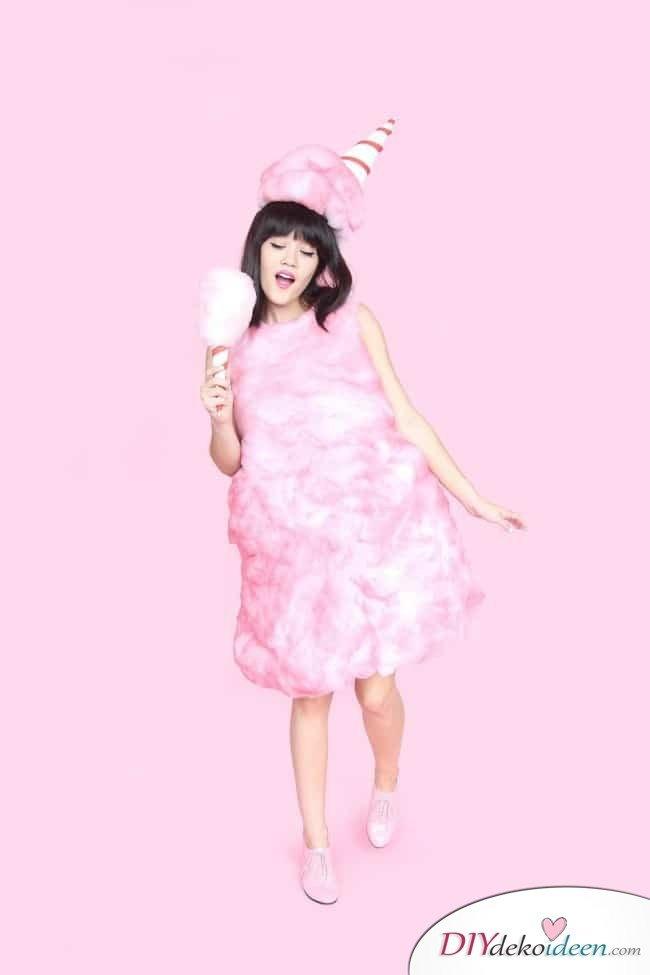 Lustige Kostüme zum Selbermachen - rosane Zuckerwatte