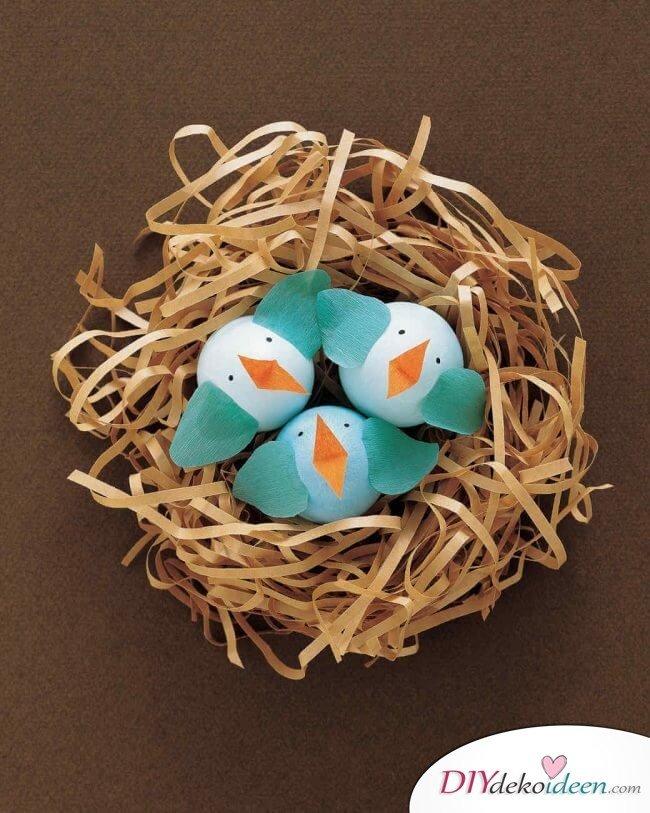 DIY Ideen - Osterdeko basteln - Eiervögelchen