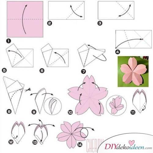 DIY Ideen - Frühlingsdeko selbst gestalten - Kirschblüten aus Transparentpapier - Anleitung