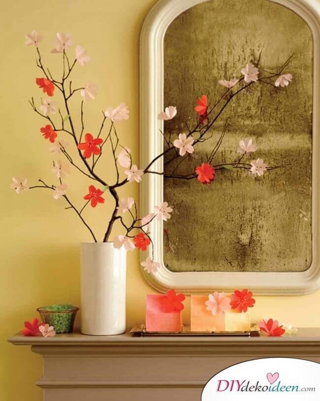 DIY Ideen - Frühlingsdeko selbst gestalten - Kirschblüten aus Transparentpapier