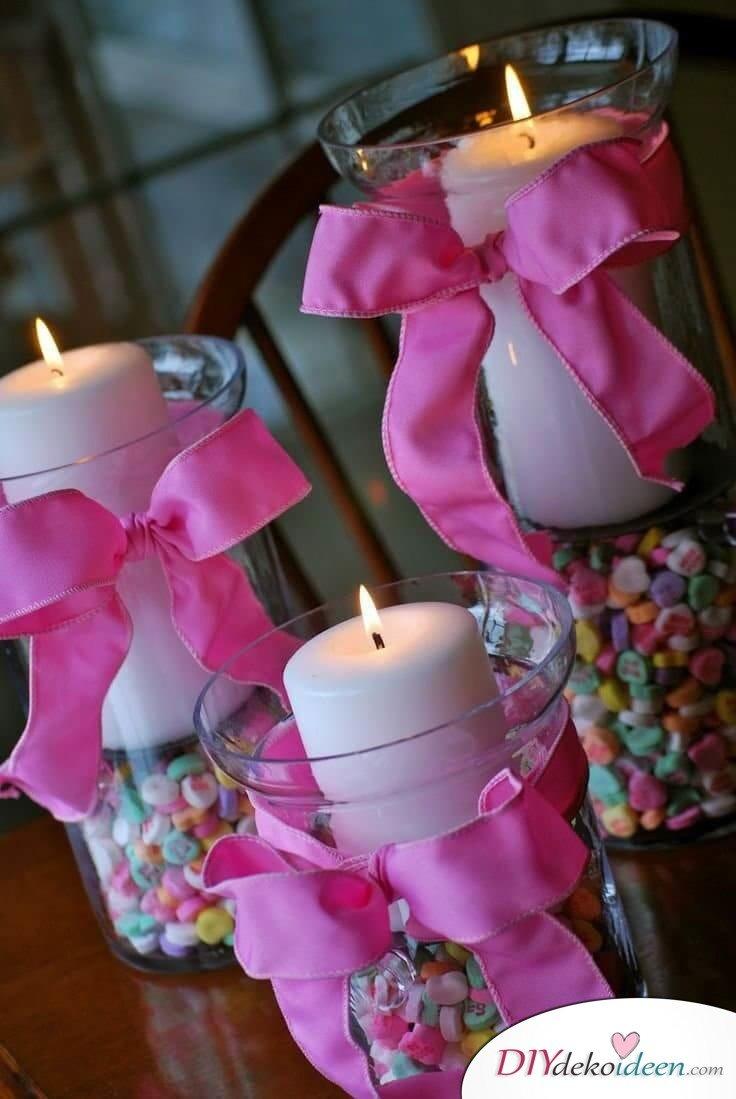 Kerzenglas mit Zuckerperlen und Schleifen - Tischdeko