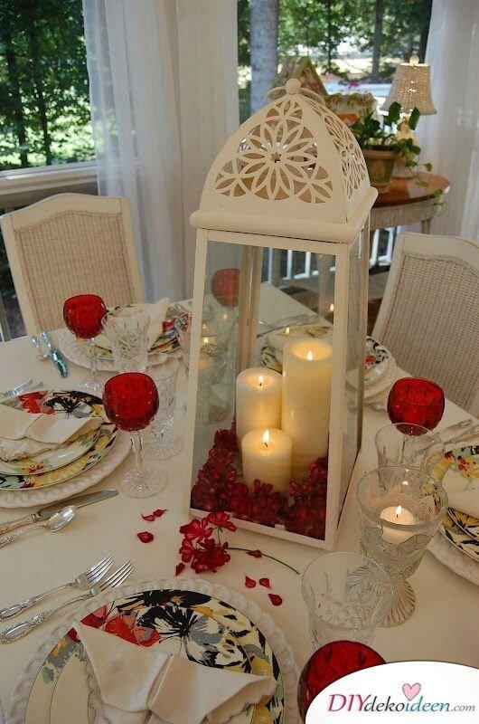 Windlicht Deko mit Kerzen - Tischdeko zum Valentinstag