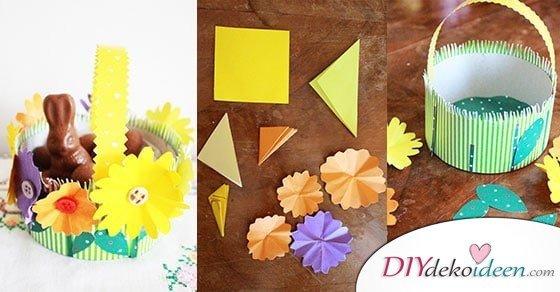 DIY Ideen – Osterkörbchen basteln mit Papier und einer Käseschachtel