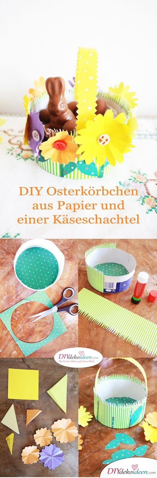 DIY Ideen - Osterkörbchen basteln mit Papier und einer Käseschachtel