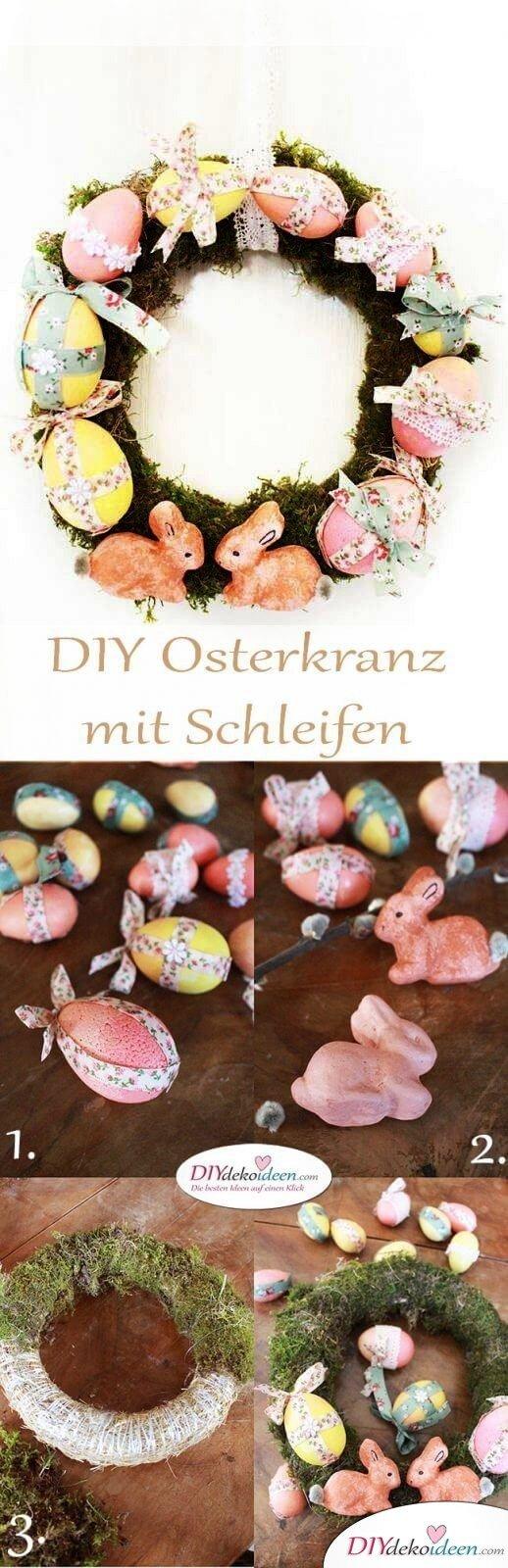Basteln zu Ostern – DIY Dekoidee Osterkranz mit Schleifen