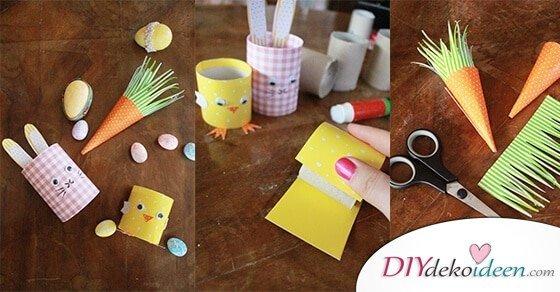 DIY Ideen mit Klopapierrollen – Osterhasen basteln mit Kleinkindern