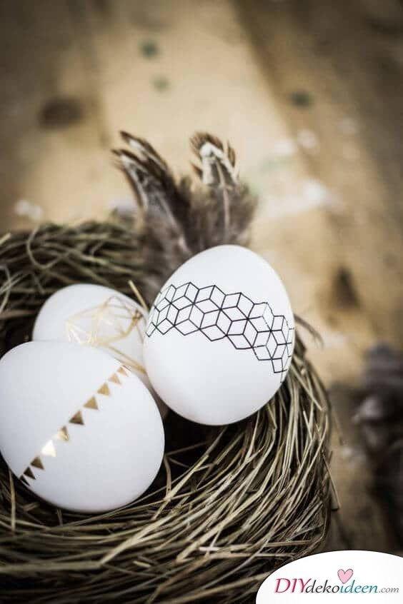 25+ DIY Deko Ideen zu Ostern, moderne Eiertatoos, Eier kreativ schmücken