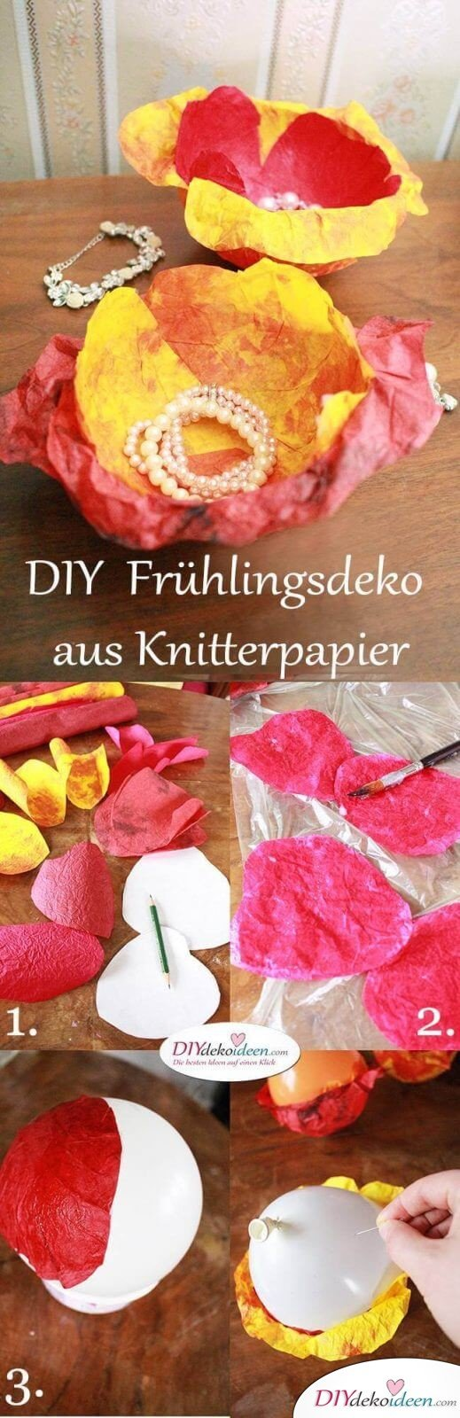 DIY Dekoidee - Frühlingsdeko basteln aus Knitterpapier