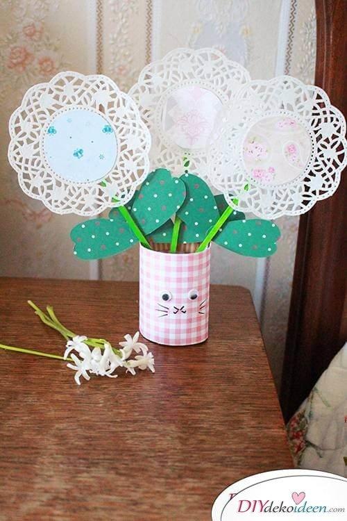 Süße DIY Kaffeeuntersetzer-Blumen