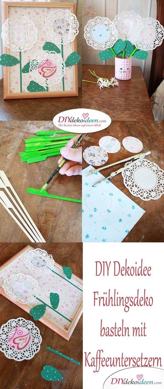 DIY Dekoidee basteln mit Kleinkindern - Frühlingsdeko basteln mit Kaffeeuntersetzern