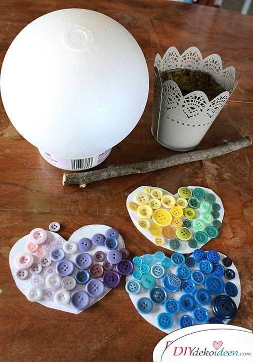 DIY Dekoidee Knopfbäumchen basteln zu Ostern - Materialen