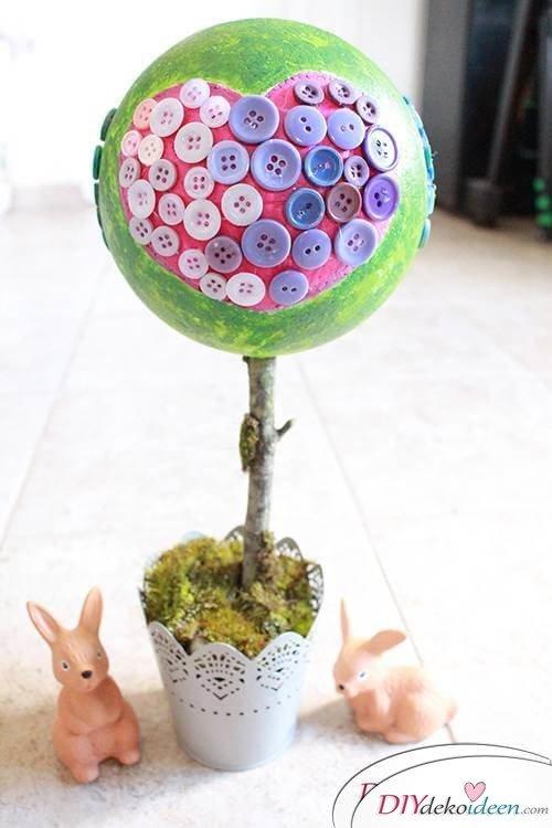 DIY Dekoidee Knopfbäumchen basteln zu Ostern - Süßes Bäumchen
