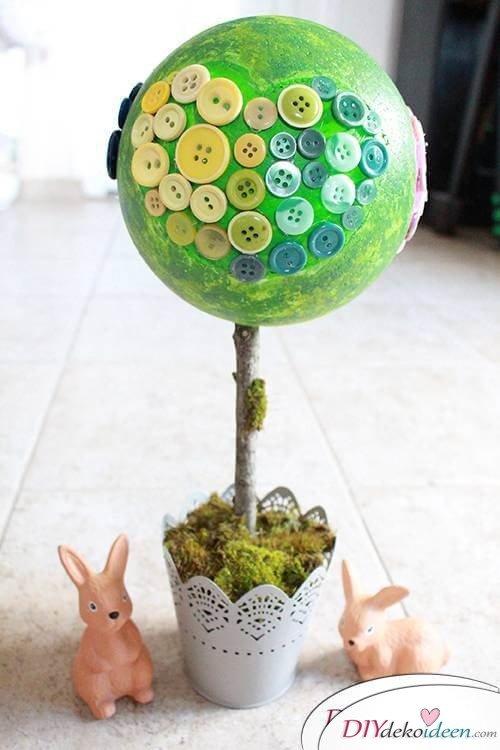 DIY Dekoidee Knopfbäumchen basteln zu Ostern - Knopfbäumchen