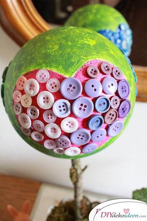 DIY Dekoidee Knopfbäumchen basteln zu Ostern - Bäumchen