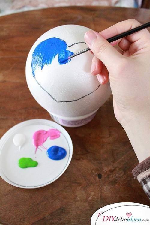DIY Dekoidee Knopfbäumchen basteln zu Ostern - Herzen ausmalen