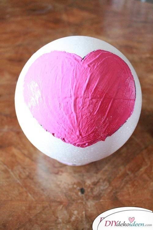 DIY Dekoidee Knopfbäumchen basteln zu Ostern - Herzen