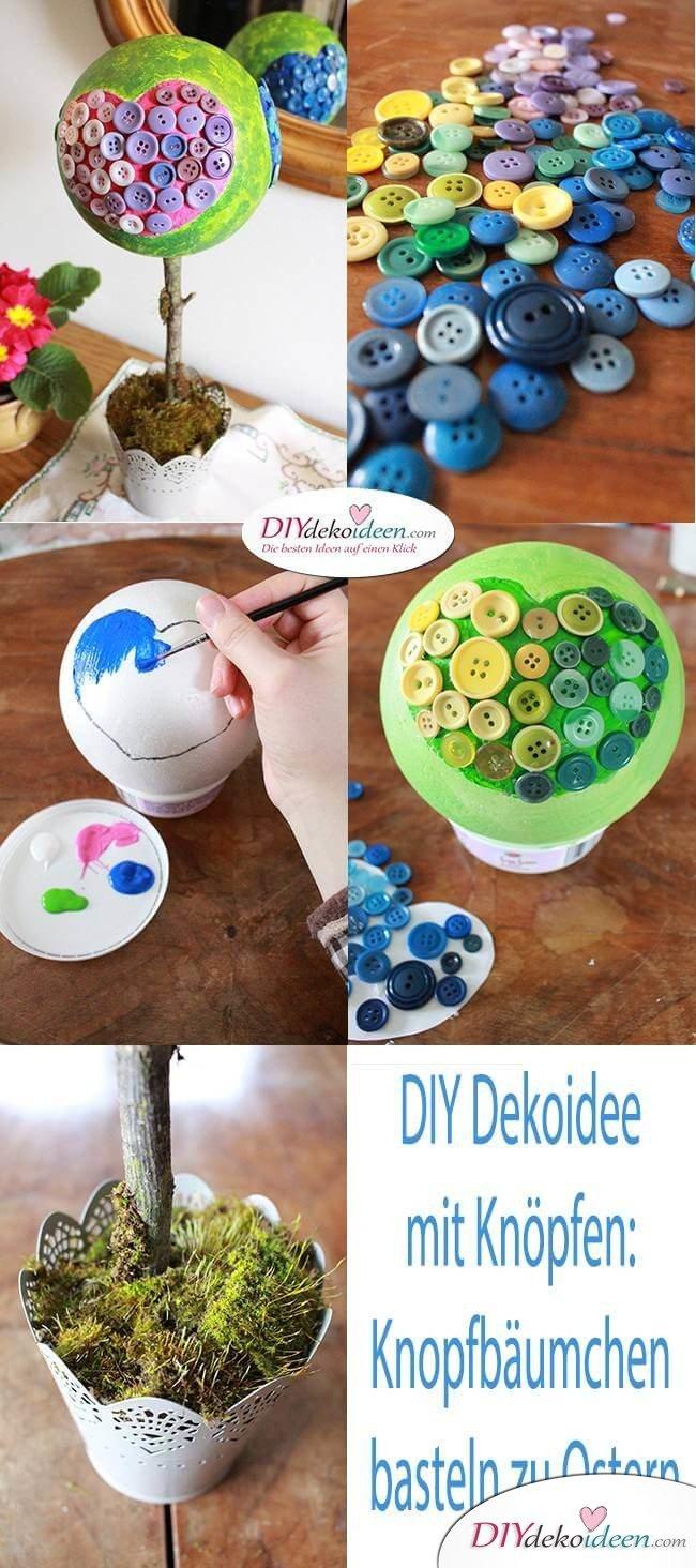 DIY Dekoidee mit Knöpfen: Knopfbäumchen basteln zu Ostern