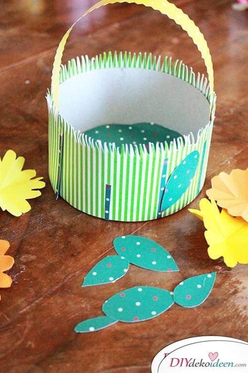 Osterbasteln - DIY Körbchen aus Papier