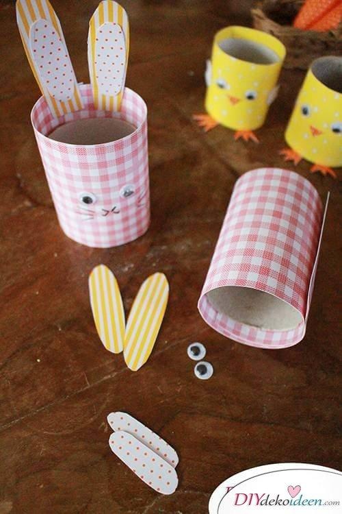 Osterhasen aus Papprollen basteln