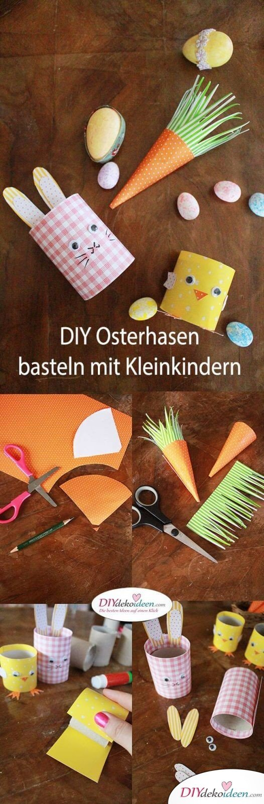 DIY Ideen mit Klopapierrollen - Osterhasen basteln mit Kleinkindern