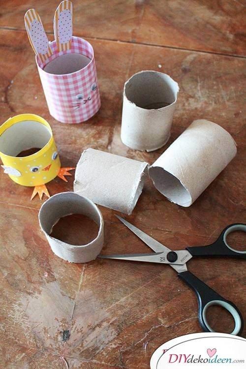 DIY Osterhasen und Kükn mit Klopapierrollen basteln
