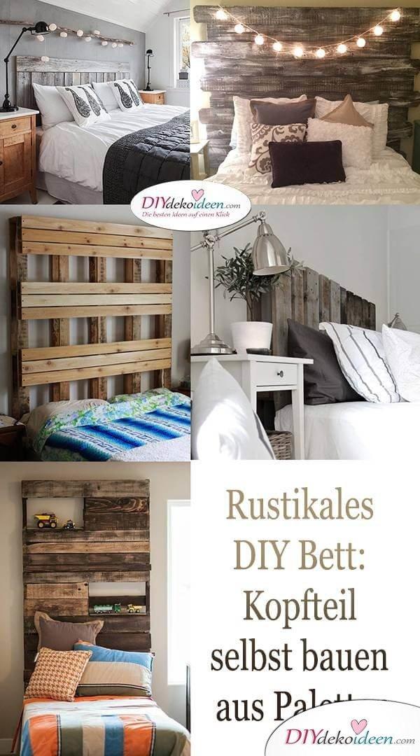 Rustikales DIY Bett: Kopfteil selbst bauen aus Paletten