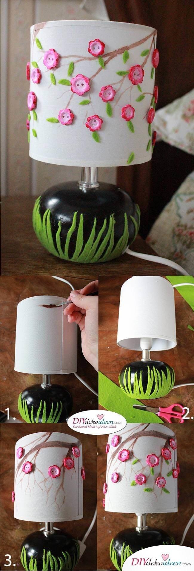 Kreative DIY Frühjahrsdekoideen – Lampe selbst gestalten