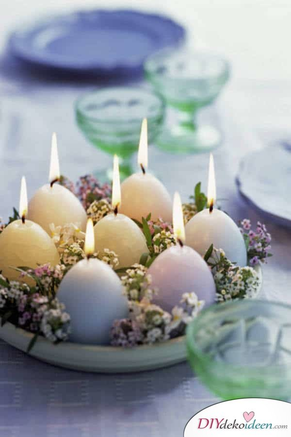 25+ DIY Deko Ideen zu Ostern, bunte, duftende Frühlingsdeko mit Kerzen
