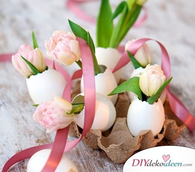 25+ DIY Deko Ideen zu Ostern, süße Dekoration mit duftenden Blumen und leeren Eierschalen