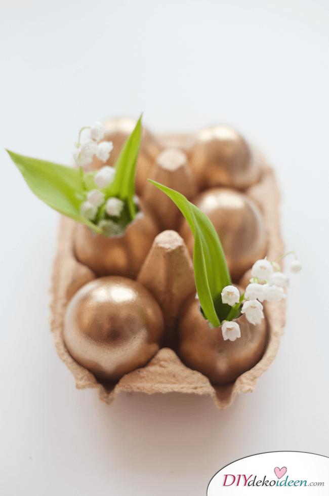 25+ DIY Deko Ideen zu Ostern, süße Dekoration mit duftenden Maiglökchen und goldenen Eierschalen